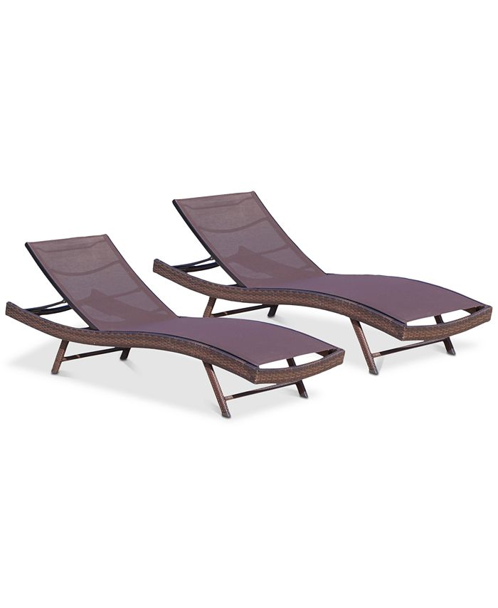 Noble House - Jordan Outdoor Chaise Lounge (Set Of 2), Quick Ship