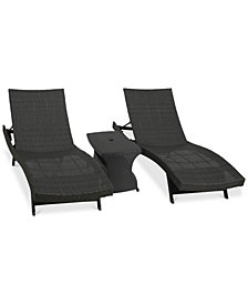 Madison Outdoor 3-Pc. Chaise Lounge & Table, Quick Ship
