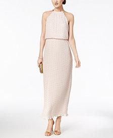 MSK Petite Metallic-Print Blouson Halter Gown