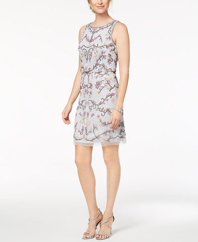 Adrianna Papell Petite Sleeveless Beaded Blouson Dress