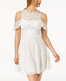 B Darlin Juniors' Cold-Shoulder Lace Fit & Flare Dress