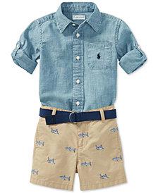 Polo Ralph Lauren Chambray Shirt & Shorts Set, Baby Boys