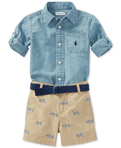 f1659fe750 Polo Ralph Lauren Chambray Shirt & Shorts Set, Baby Boys & Reviews ...