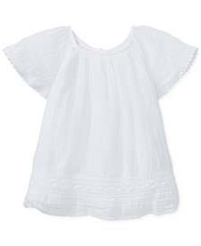 Polo Ralph Lauren Embroidered Cotton Top, Baby Girls