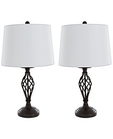 Lavish Home Set of 2 Cage Lamp Set