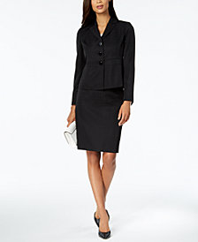 Le Suit Windowpane Three-Button Skirt Suit