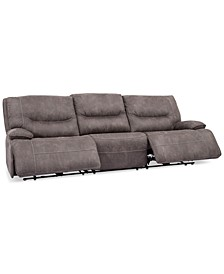 Felyx 116'' 3-Pc. Fabric Sectional Sofa With 2 Power Recliners, Power Headrests And USB Power Outlet