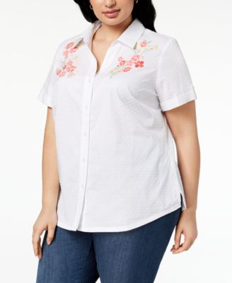 Karen Scott Plus Size Cotton Embroidered Swiss Dot Shirt Created for Macys