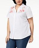 Karen Scott Plus Size Cotton Embroidered Swiss Dot Shirt Created for Macys