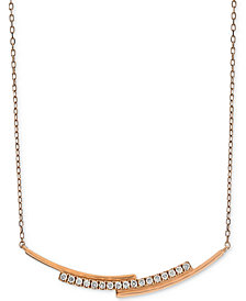 "Diamond Layered Bar Necklace (1/5 ct. t.w.) in 14k Rose Gold, 16"" + 2"" extender"