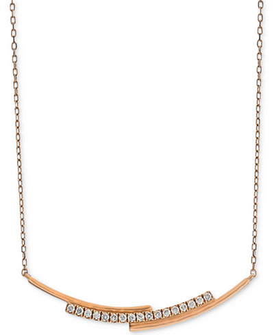 Diamond Layered Bar Necklace (1/5 ct. t.w.) in 14k Rose Gold, 16