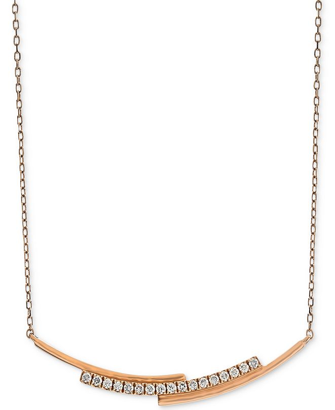 "Macy's Diamond Layered Bar Necklace (1/5 ct. t.w.) in 14k Rose Gold, 16"" + 2"" extender"