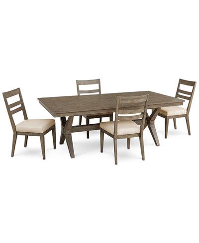 Bridgegate Rectangular Expandable Dining Furniture, 5-Pc. Set (Dining Table & 4 Slat Back Side Chairs)