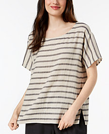 Eileen Fisher Organic Linen Blend Striped Top