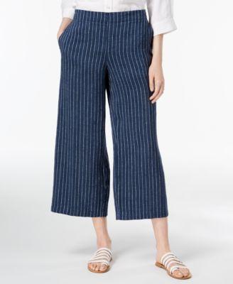 Organic Linen Pinstriped Wide-Leg Cropped Pants, Regular & Petite