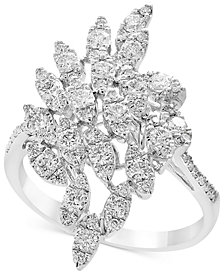 Pavé Rose by EFFY Diamond Cluster Statement Ring (9/10 ct. t.w.) in 14k White Gold