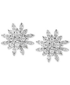 Pavé Rose by EFFY® Diamond Cluster Stud Earrings (3/4 ct. t.w.) in 14k White Gold