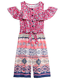 Bonnie Jean Printed Cold Shoulder Jumpsuit, Toddler Girls