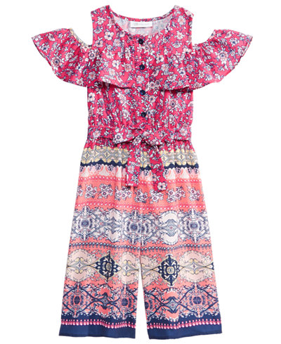 Bonnie Jean Printed Cold Shoulder Jumpsuit, Little Girls