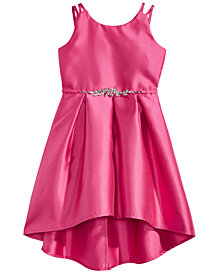 Pink & Violet Pleated Satin Dress, Little Girls