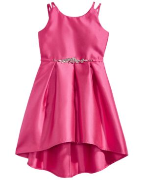 Pink & Violet Pleated Satin Dress, Little Girls 5882331