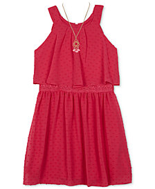 BCX Clip-Dot Popover Dress, Big Girls