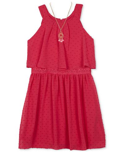 BCX Clip-Dot Popover Dress, Big Girls