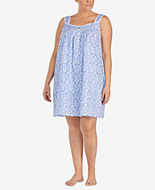 Eileen West Plus Size Venise-Lace Woven Cotton Nightgown