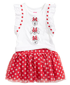 Disney's® Minnie Mouse 2-Pc. Graphic-Print Top & Dot-Print Skirt Set, Baby Girls