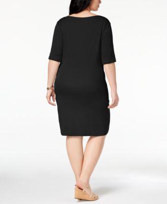 Cotton Shift Dress Plus Size