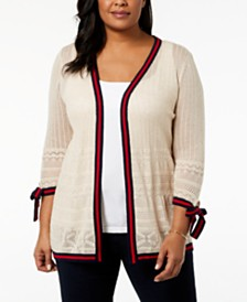 Belldini Plus Size Pointelle Cardigan