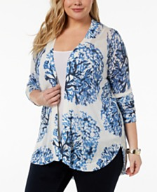 Belldini Plus Size Open-Front Cardigan