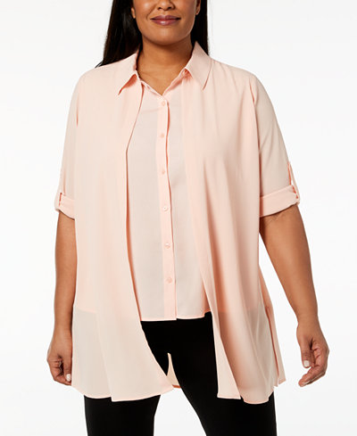 Calvin Klein Plus Size Layered-Look Blouse