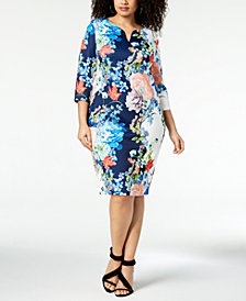 ECI Plus Size Floral-Print Sheath Dress