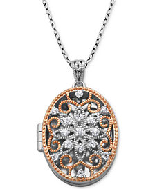 "Giani Bernini Cubic Zirconia Oval Filigree Heart Locket 18"" Pendant Necklace, Created for Macy's"