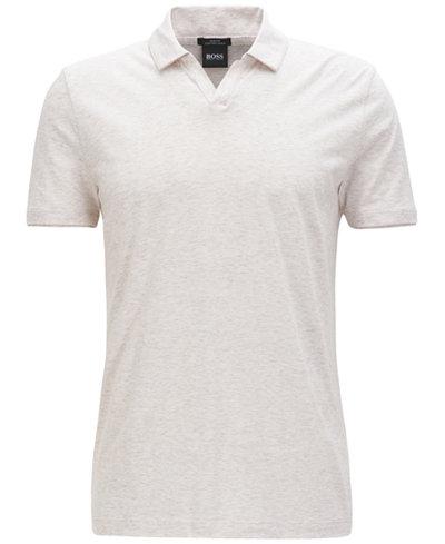 BOSS Men's Slim-Fit Cotton Linen Polo Shirt