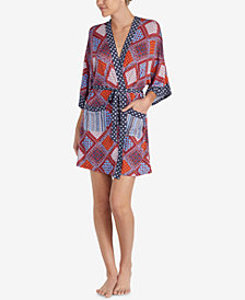 Layla Printed Short Robe With Headband