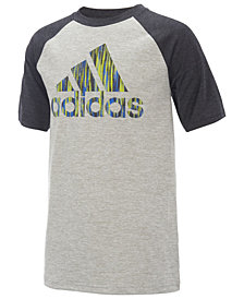 adidas Logo-Print Raglan-Sleeve T-Shirt, Little Boys