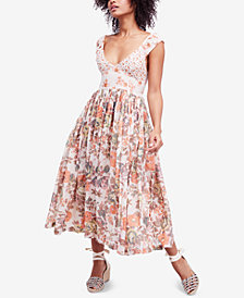 Free People Love You Printed Cotton Midi Dress