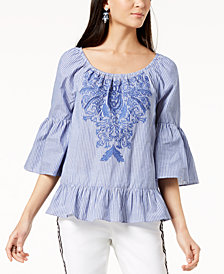 I.N.C. Cotton Embroidered Peasant Top, Created for Macy's
