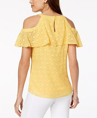 Thalia Sodi Cold Shoulder Textured Top Created For Macy S Tops