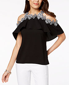 Thalia Sodi Lace-Trim Cold-Shoulder Top, Created for Macy's