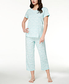 Charter Club Contrast-Print Cotton Knit Pajama Set, Created for Macy's