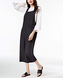 Eileen Fisher Boat-Neck Top & Cropped Overalls