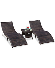 Veranda Outdoor 3-Pc. Chaise Lounge & Table Set, Quick Ship