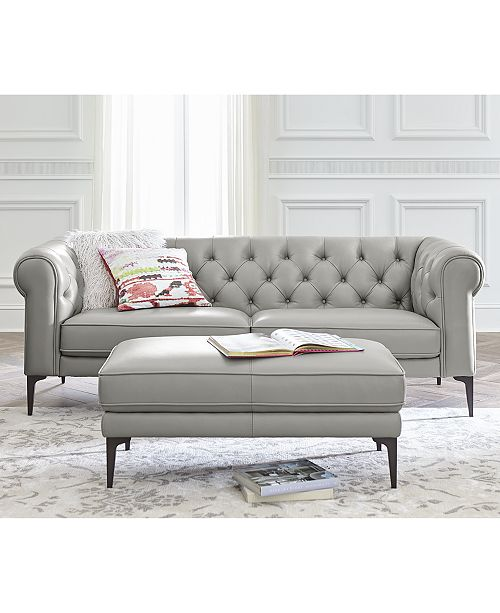 Macys Furniture Outlet Michigan: Furniture Remina Leather Cocktail Ottoman, Created For