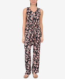 NY Collection V-Neck Belted Jumpsuit