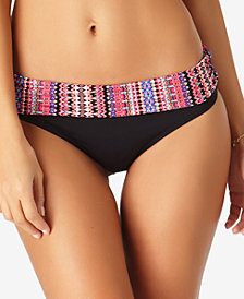 Anne Cole Stevie Striped Fold-Over Bikini Bottoms