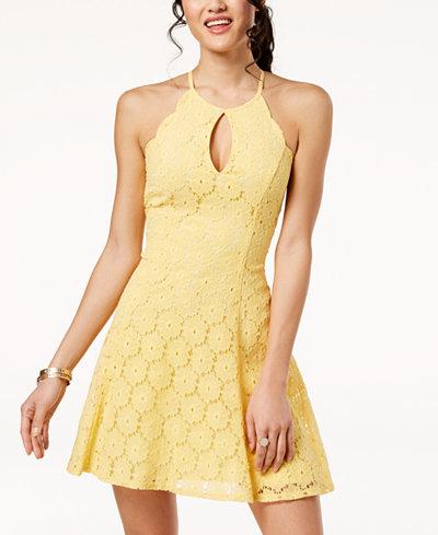 City Studios Juniors' Floral-Lace A-Line Dress