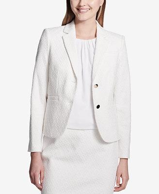 Textured Two Button Blazer by Calvin Klein